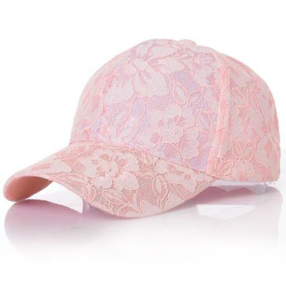Summer Women's Lace Floral Pattern Baseball Caps Casual Cotton Breathable Mesh Hats for Girls Fashion Female Pink Adjustable Cap new cotton slouchy wrinkle cap double flower floral beanie hats for cancer chemo patients