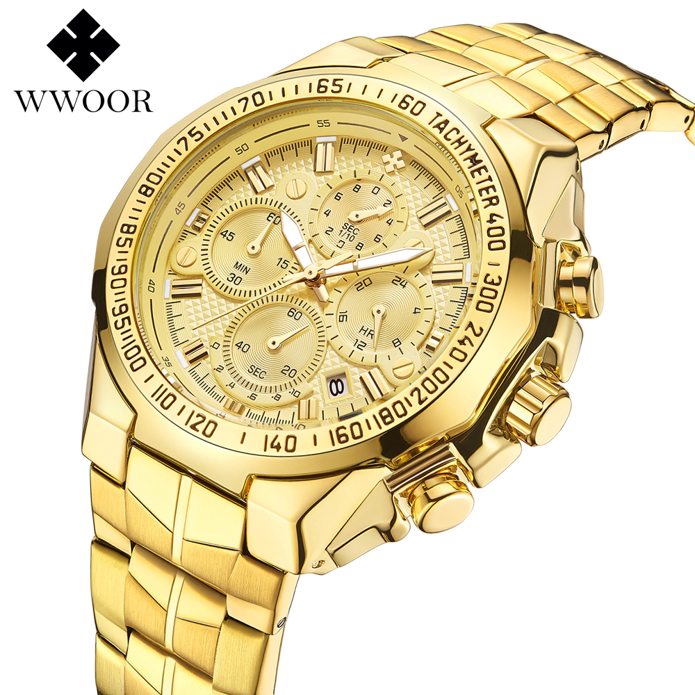 WWOOR Top Brand 2019 New Fashion Luxury Big Dial Men Military Quartz Watch Stainless Steel Casual Sport Business Gold Wristwatch