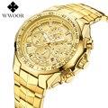 WWOOR Top Marke 2019 Neue mode Luxus Große Zifferblatt Männer Military Quarzuhr Edelstahl Casual Sport Business Gold Armbanduhr
