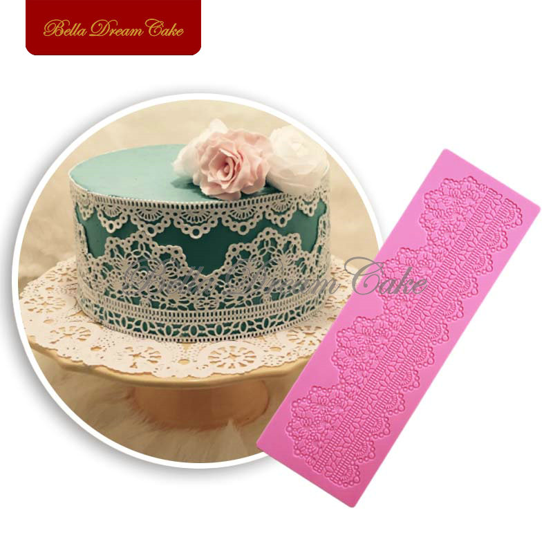 Cake Border Decor Lace Mat Sugar Pad de encaje para boda Cake Decoration Silicone Lace Mould molde de silicona navidad LFM-33