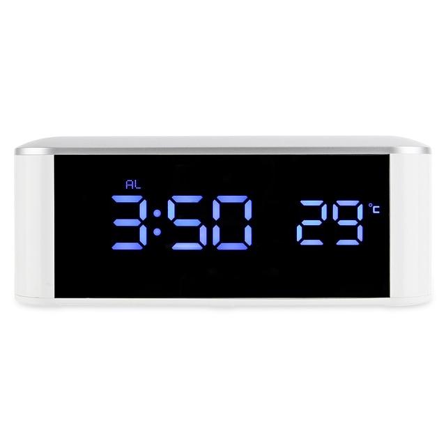 6ec642f07c5 Espelho Digital LED Alarm Clock Termômetro Snooze Backlight Cabo USB Luz Da  Noite Eletrônica Digital Desktop