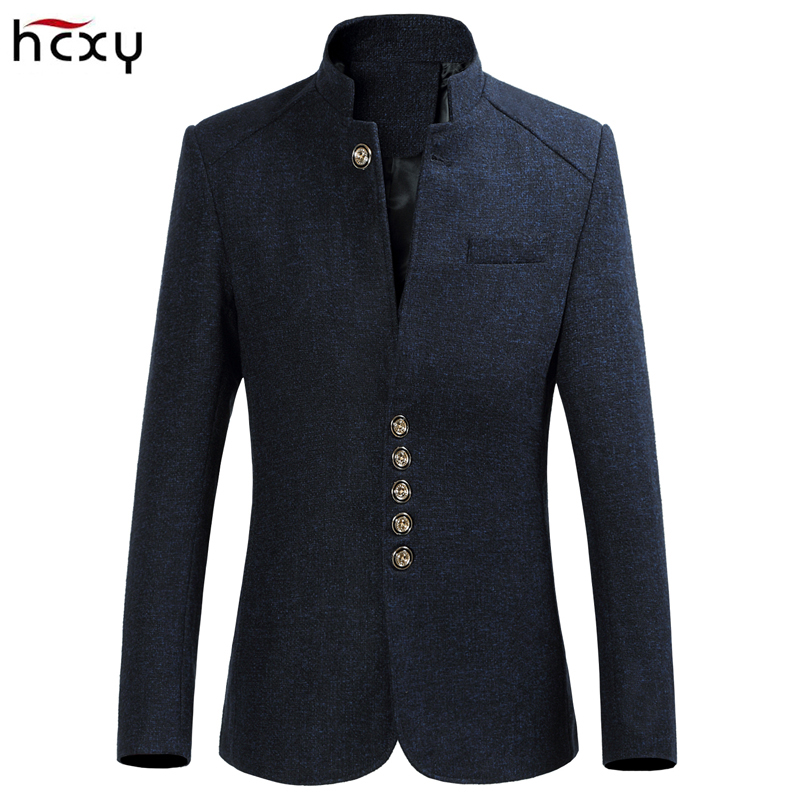 HCXY Mens Retro Chinese collar casual suits jacket men business blazers Mens large size  ...