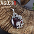 S925 Hand Carved Silver Vintage pendant inlaid garnet  Pendant Necklace Chain Ms. clavicle