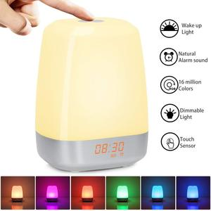 Image 2 - Hot Wake Up Light Alarm Clock  Press Control Multicolor Dimmable, Sunrise Simulation Digital Led Clock With Heavy Sleepers