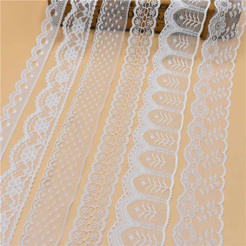 Bella 10 Yards Bianco Nastro di Pizzo Largo francese tessuto africano del merletto del merletto passamanerie per accessori di cucito Ricamato Abbigliamento