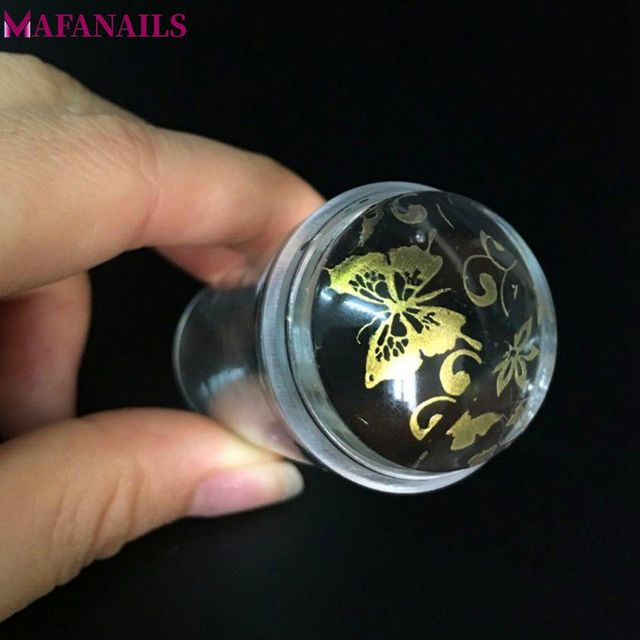1pc 2.8cm Jelly Nail Stamper Transparent Silicone Marshmallow Nail Art Stamper Sets with Caps Nail Stamp & Scraper YZ 10
