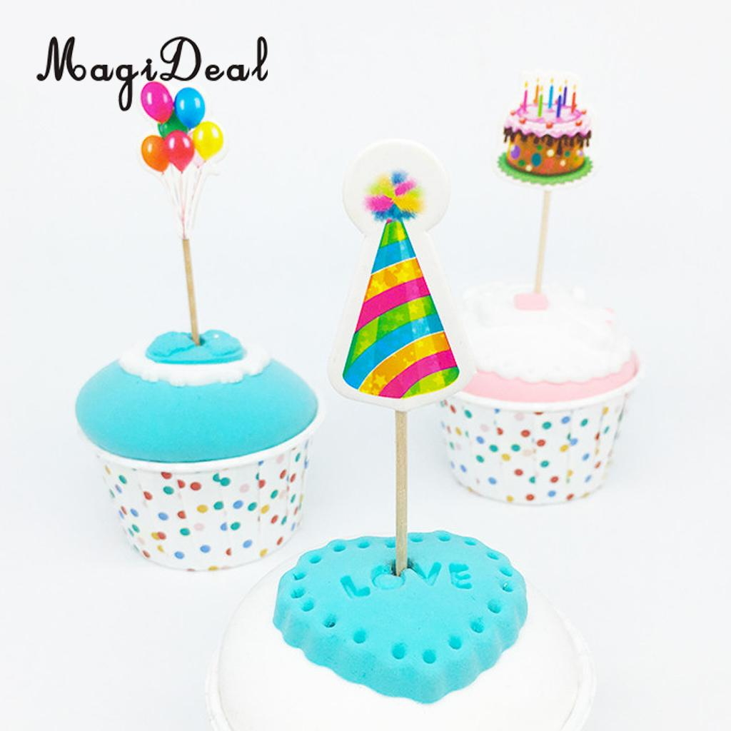 Magideal Lovely 18pcs Paper Cake Balloon Cone Hats Cupcake Pick Cake
