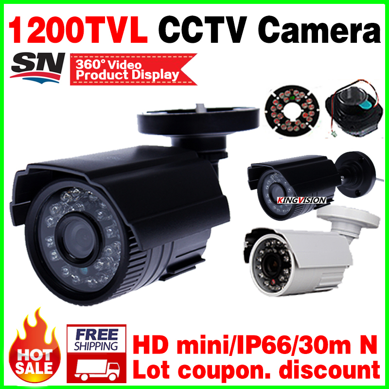 Countdown Sale 1 4Cmos 1200TVL Hd Mini Cctv Camera Outdoor Waterproof 24Led Night Vision Small Video