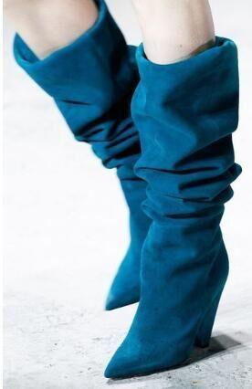 Color Pointu D'hiver Haute Femme Color Lac De Réel Bottes As as Spike Chunky Femmes Bout Talon Showed Bleu Genou Photos A3R4Lj5