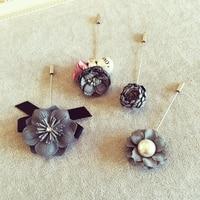 11 estilos de moda camisola cardigan Feminino jóias de alta qualidade Da Flor Da Pérola cinza pano flores Broche pinos acessórios Coreano