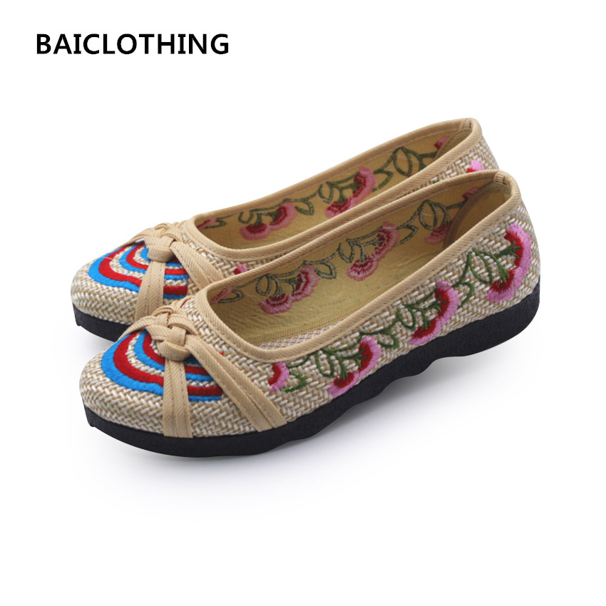 BAICLOTHING women cute bow tie flat shoes lady casual beige floral cloth shoes female soft & comfortable shoes sapatos femininos baiclothing women casual pointed toe flat shoes lady cool spring pu leather flats female white office shoes sapatos femininos