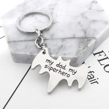 HUMANO FINO 2019 New Simple Fashion Letter My Dad Super hero Bat Shape Keychain For Men Child Fatherday Power Gift