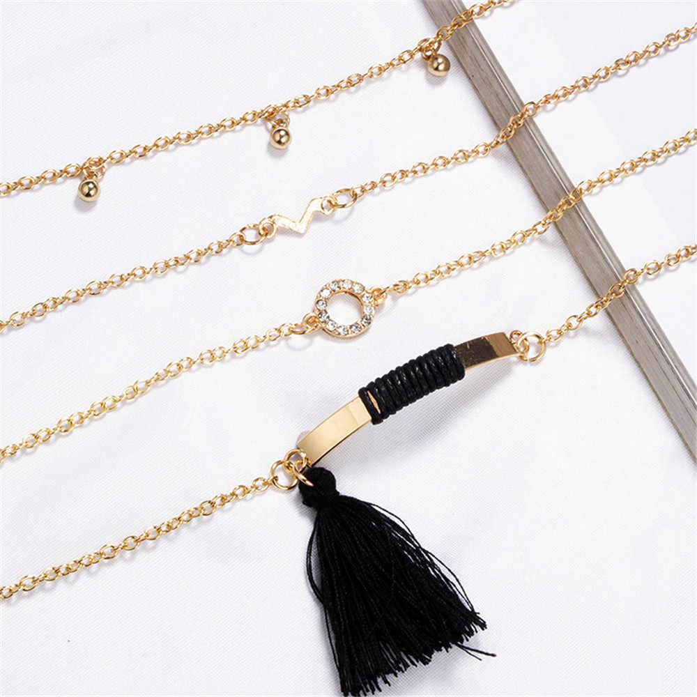 MLING 4 sztuk/zestaw nowy projekt złoty kolor V słowo Tassel okrągły kształt bransoletka najlepszy przyjaciel odległość bransoletka życzenie biżuteria