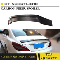 For Mercedes W 218 R Style Spoiler Real Carbon Fiber Fit for CLS350 CLS400 CLS500 W218 R Style Rear Truck Wing Year 2012+