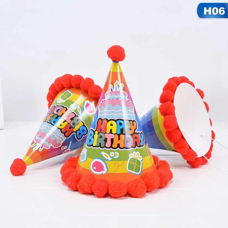 เจ้าหญิง Prince Happy Birthday Pompon หมวกกรวยกระดาษ Dress Up เด็กวันเกิดคริสต์มาสอุปกรณ์ตกแต่งเด็กทารก