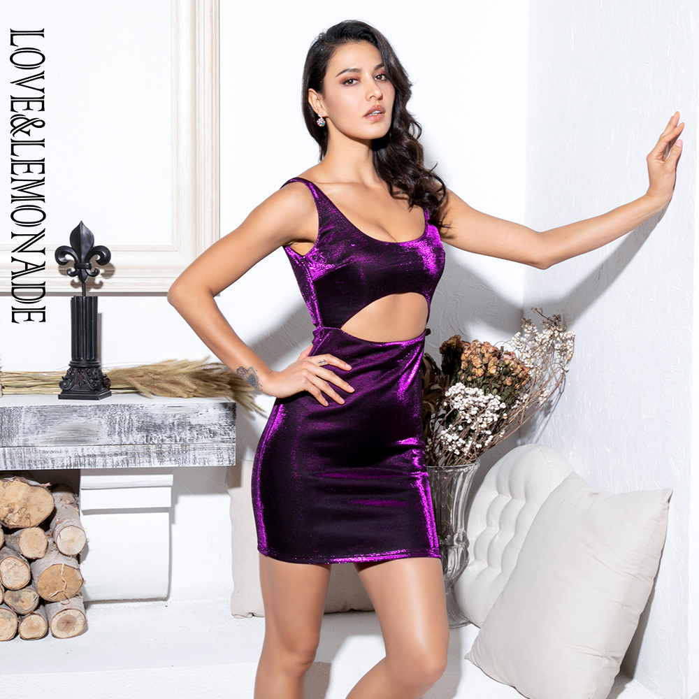 LOVE&LEMONADE Purple Party Mini Dress LM81795