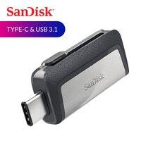 Двойной Флеш-накопитель SanDisk USB флэш-накопитель Ultra Dual USB3.1 накопитель OTG Тип-C USB флеш-диск Stick 150 м/с 16 Гб оперативной памяти, 32 Гб встроенной пам...