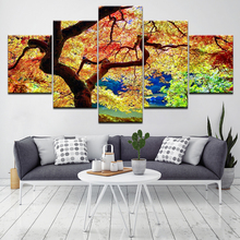 ФОТО modular painting frame hd printed wall art pictures modern 5 panel colorful tree landscape living room or bedroom canvas poster
