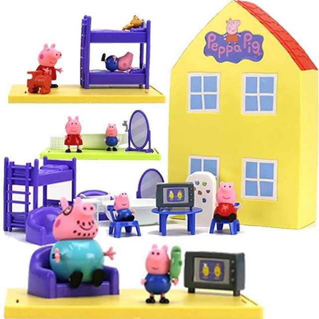 2018 Genuine Peppa Pig Peppa's - PLAYHOUSE / Model Doll Family House Playset Action Figure Kid Toys free shipping Original box