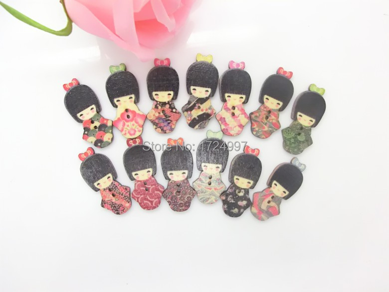 100PCs Random Mixed Lovely Japanese Kimono Doll 2 Holes Wood Painting Sewing Buttons Scrapbooking 18x40mm,B2590