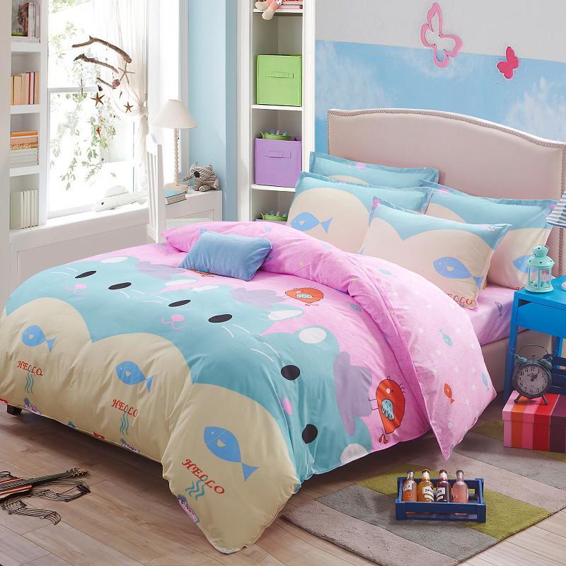 Top Sale Cartoon Kids Pink Duvet Cover Bedding Set Cute