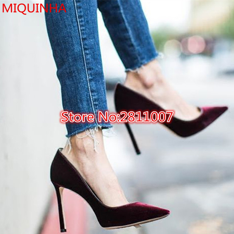 ФОТО Hot Sell 2017 Fashion Shoes Woman High Heels Velvet Pumps Pointed Toe Slip On Shallow Chaussure Femme Women Shoes Zapatos Mujer