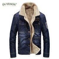 Winter Jacket Men Brand TAPOO High Quality Thick Warm Fleece Denim Jacket Men Fashion Fur Parka