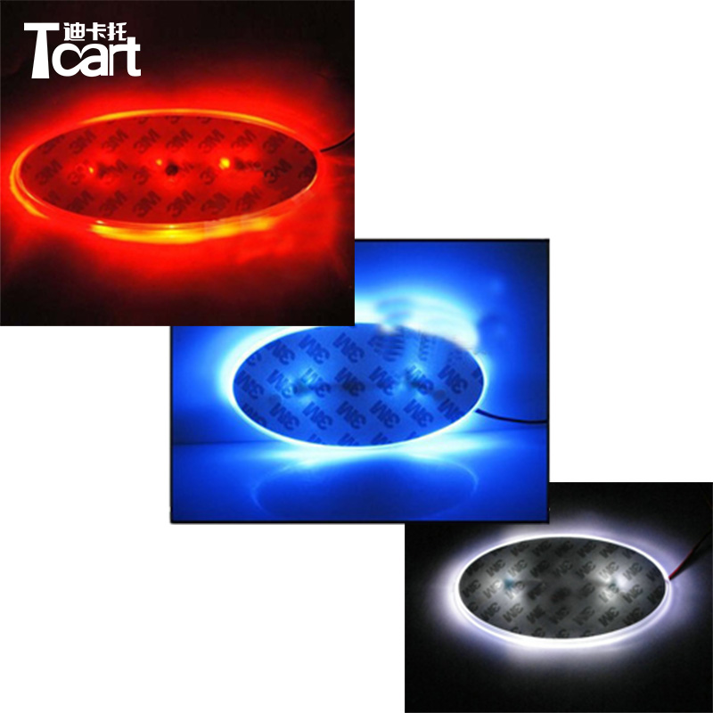 Tcart 1set 13cmx6.4cm Car rear Emblem light lamp badge auto led logo light EL car 4D logo For Hyundai I30 For Sonata Accessories image