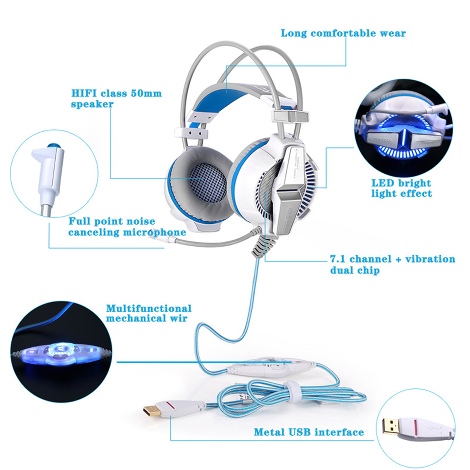 KOTION EACH G7000 Earphones With Mic For Computer USB 7.1 Virtual Surround Sound Gamer Headset Headphones Lights Earphone Gaming
