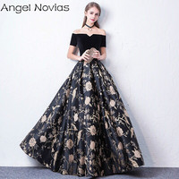 Long Black Celebrity Dresses 2018 Corset Back Sleeveless V Neck Formal Evening Gown Angel Novias
