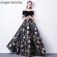 Long Black Celebrity Dresses 2018 Corset Back Sleeveless V Neck Formal Evening Gown Angel Novias