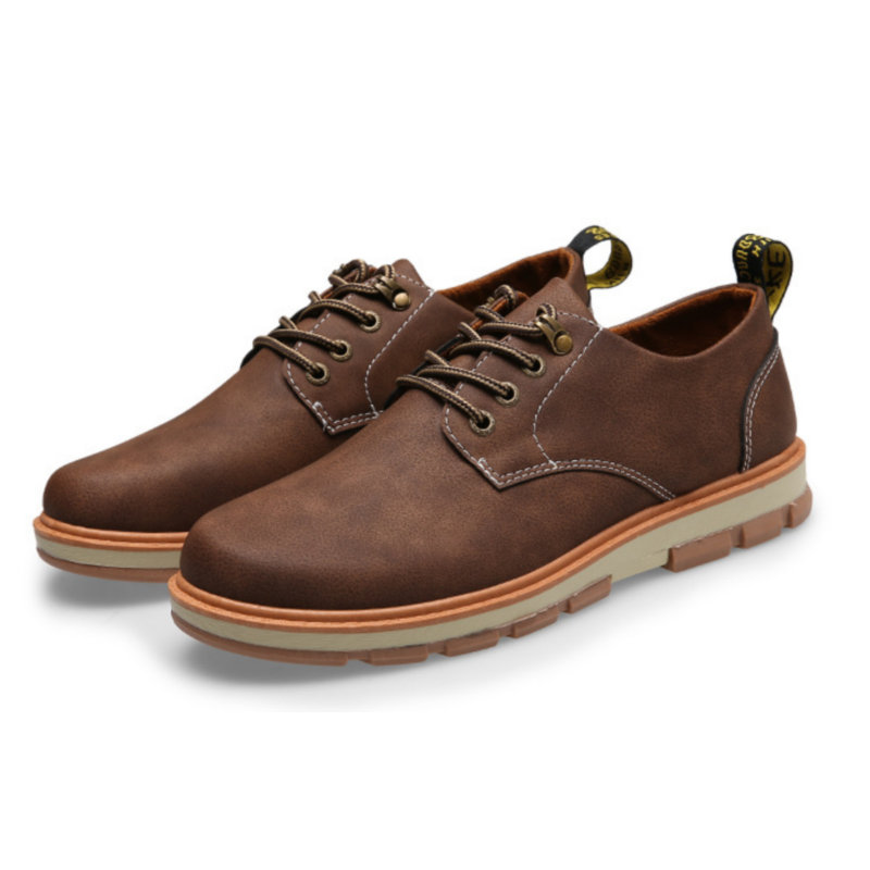 d977a971c ECTIC 2018 New young Men s casual leather shoes Comfortable Lace-Up Casuals  shoes Breathable Gentleman Driving shoes AA-017