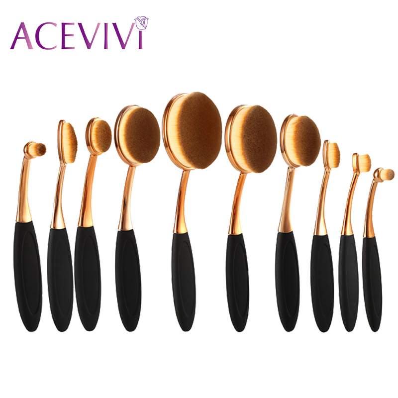 ACEVIVI Professional Oval Shape Makeup Rose Golden Color Brushes Cosmetic Make Up Brush Tool Set Foundation Powder Brush Kits professional bullet style cosmetic make up foundation soft brush golden white