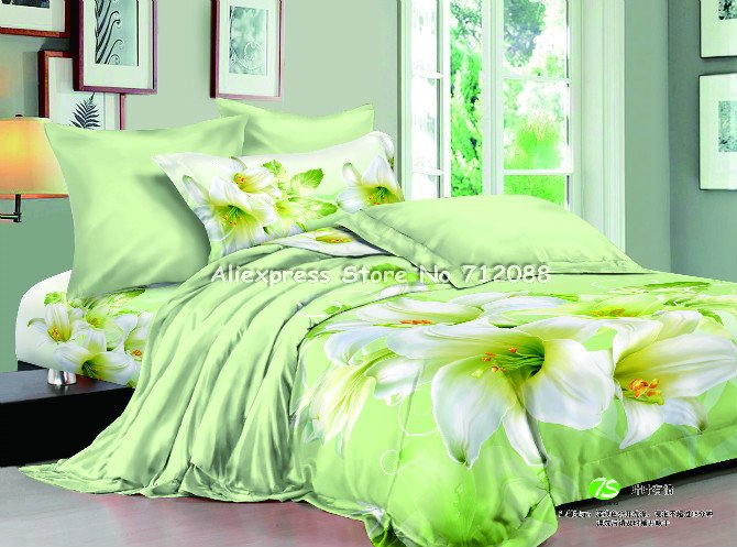 Wholesale,cotton Duvet Quilt Covers Elegant White Lily