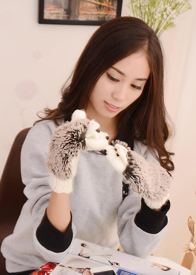 GLV881 Hedgehog double layer velvet lovely cartoon woolen font b gloves b font outdoor thermal knitted