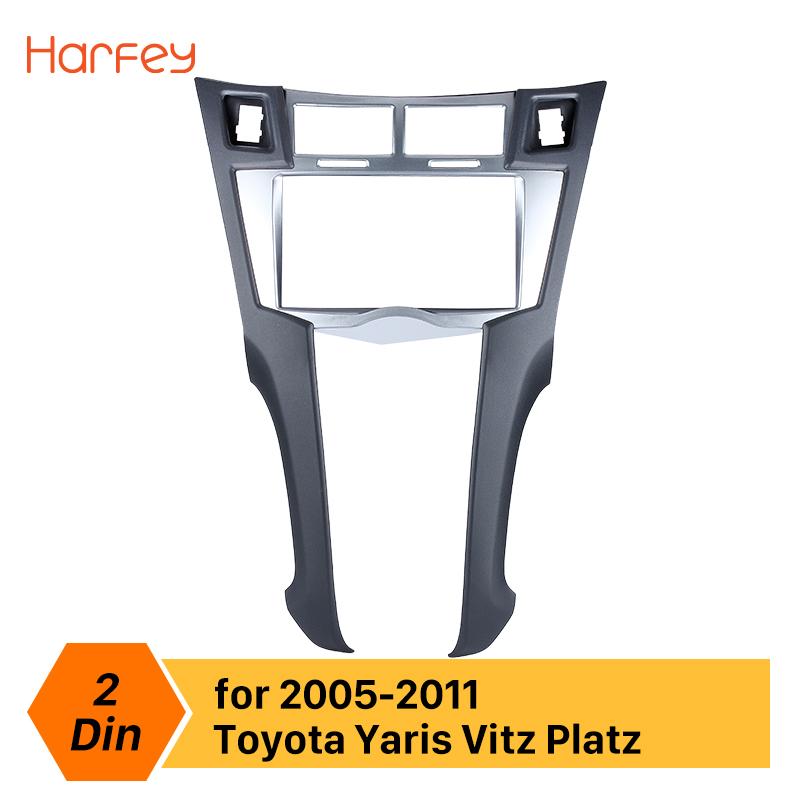 Harfey 2Din Car Radio Frame Fascia For Toyota Yaris Vitz Platz 2005 2009 2010 2011 Cover