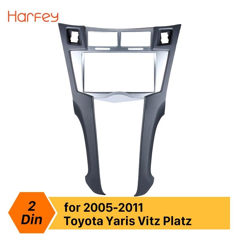 Harfey 2Din voiture Radio cadre Fascia pour Toyota Yaris Vitz Platz 2005 2006 2007 2008 2009 2010 2011 couverture kit d'outils pour habillage 178*100mm panneau