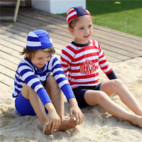 Fashion Striped Swimwear Two Piece Swimsuits Boys Girls Long Sleeve Kids Swimming Suit Solar Protection Children