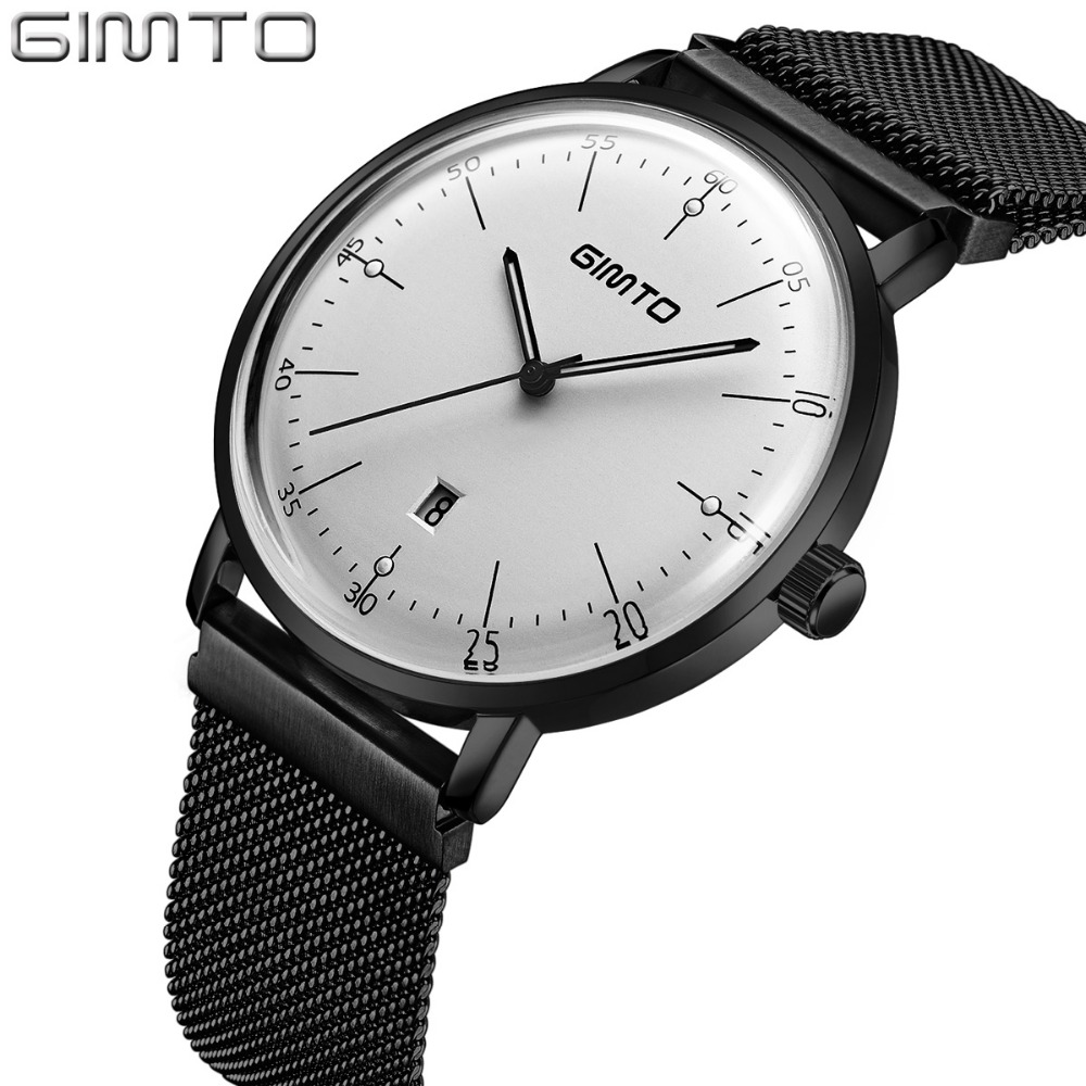 GIMTO Luxury Men Watch Calendar Steel Business Quartz Wristwatch Luminous Male Clock Men Military Sport Watches Men Erkek Saat цена