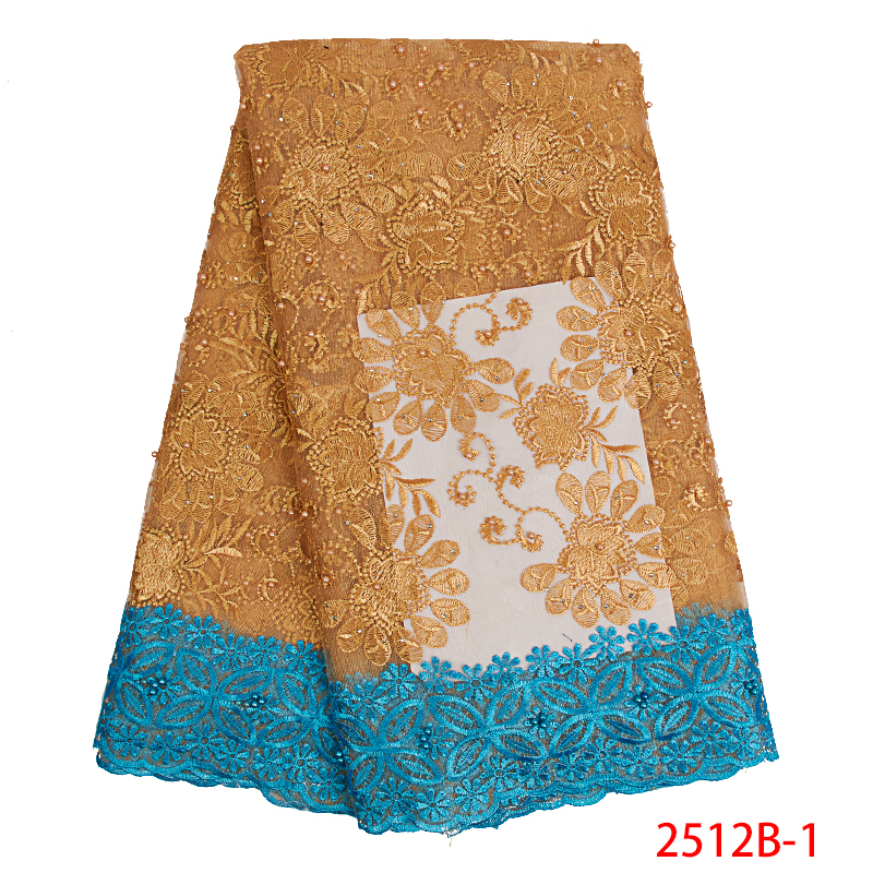 African Lace Fabric 2019 French Tulle Lace Fabric   High Quality Embroidered Nigerian Laces Fabrics For Women Dress KS2512B-1
