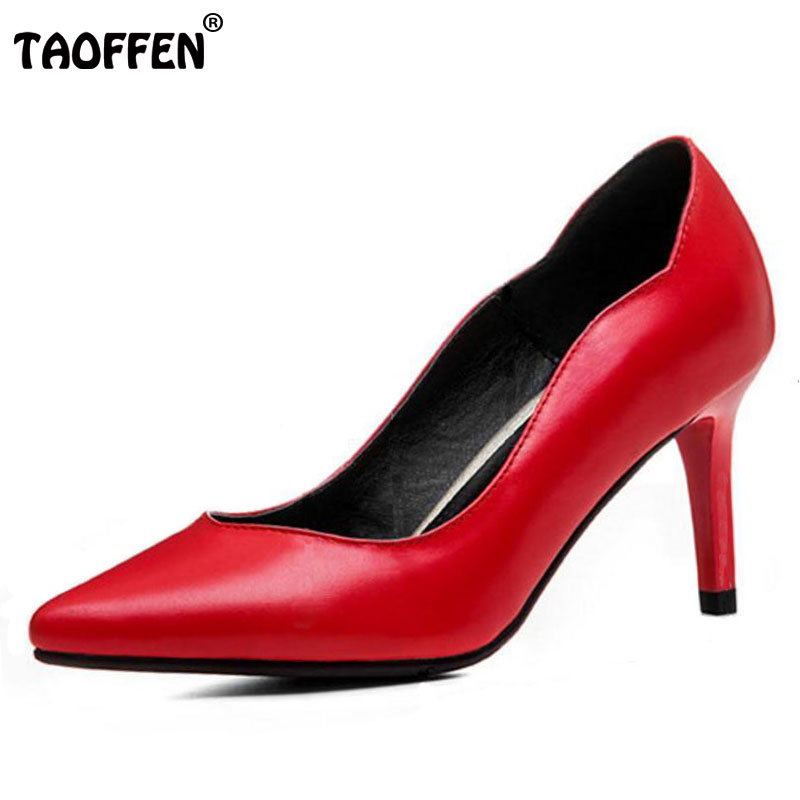 TAOFFEN Size 33-44 Women Real Leather Thin High Heels Pumps Women Sexy Pointed Toe Slip On Shoes Women Handmade Party Footwear orange pointed toe pump women shoes sexy slip on women pumps real image thin high heels ol pump shoes large size 8 heels