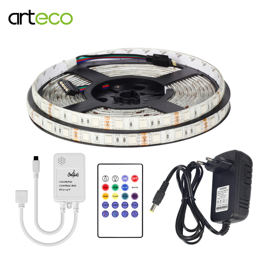 DC12V 3A Power Adapter 5M 5050 RGB led strip light IP65/IP20 Waterproof SMD Diode Tape led Ribbon With Music Remote Controller