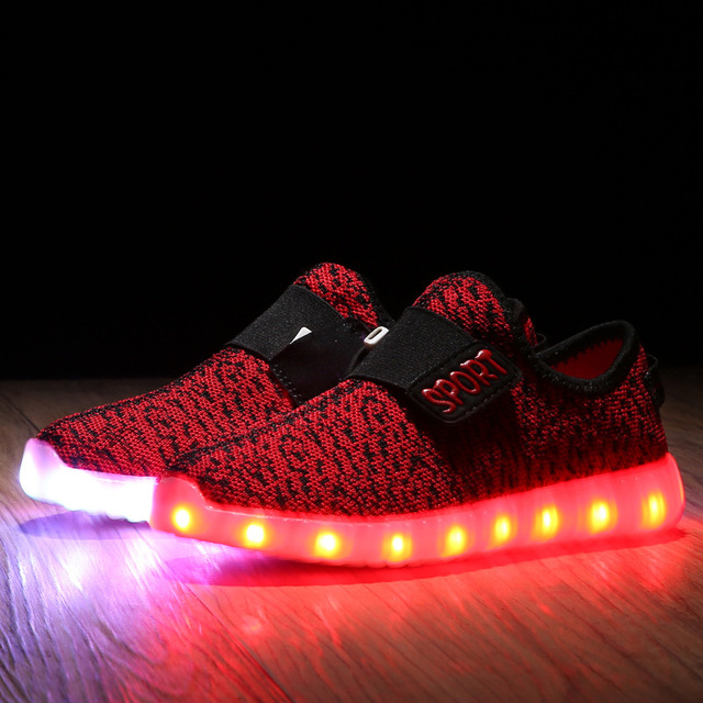 New Children Sneakers Usb Charging Kids Led Luminous Shoes Boys Girls Of Colorful Flashing Lights Sneakers B2784