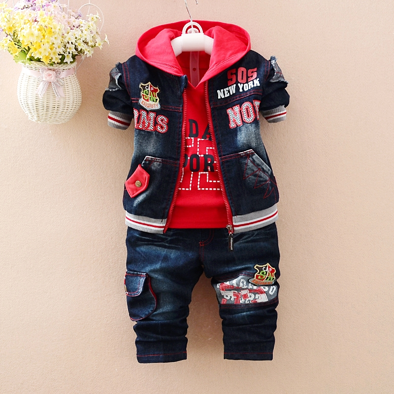 ФОТО Anlencool Free shipping baby clothing brand Boys Spring and Autumn infant denim long-sleeved cotton sweater suit Jeans Baby suit