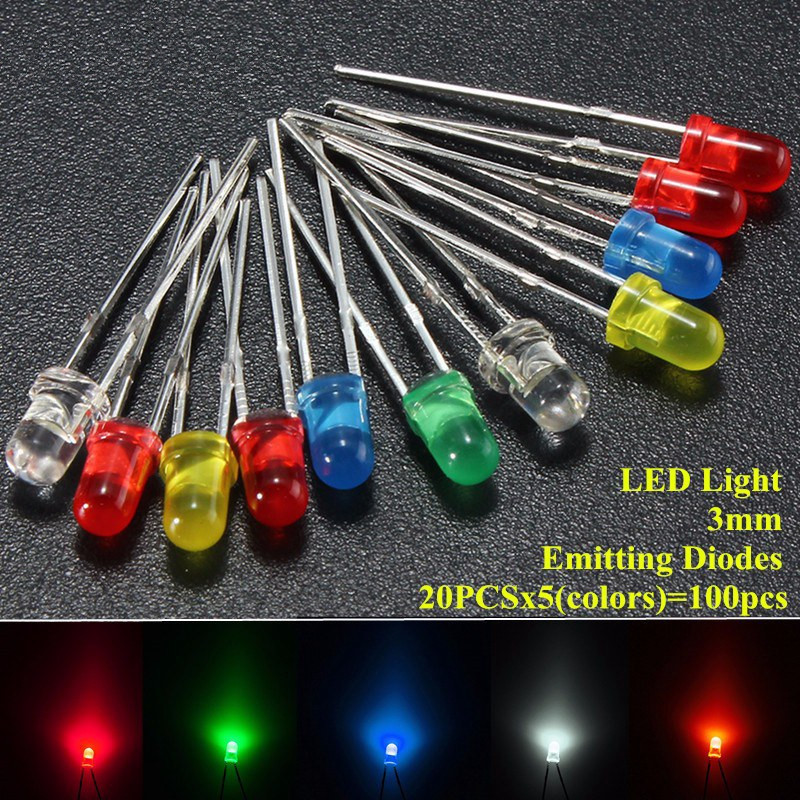 100pcs 3mm 5 Colors LED Emitting Diodes Light Kit Round Top Diffused White Yellow Red Blue Green Assortment For DIY Lighting