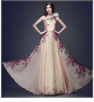 Europe And The United States The New Fashion Elegant Temperament One Shoulder Printing Connect Dress Skirt