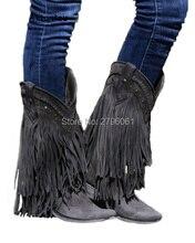 Ковбойские мотоботы до середины икры Гладиатор осень-зима бахромой кожаные низкий каблук полусапожки Slip-On кисточкой женская повседневная обувь