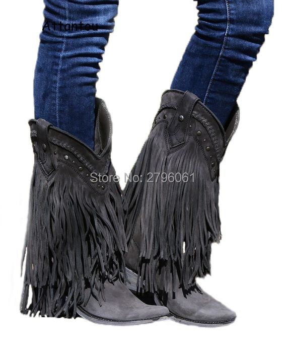 Cowboy Mid-calf Motorcycle Boots Gladiator Autumn Winter Fringed Leather Low Heels Short Boots Slip-on Tassel Woman Casual Shoes mabaiwan handmade rivets military cowboy boots mid calf genuine leather women motorcycle boots vintage buckle straps shoes woman