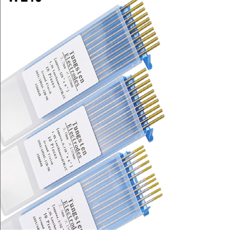 WL15 10 Piece Gold Color 1.0/1.6/2.0/2.4/3.0/3.2/4.0mm*150mm Lanthanated Tungsten Electrode Head Tungsten Needle/Rod For Wel
