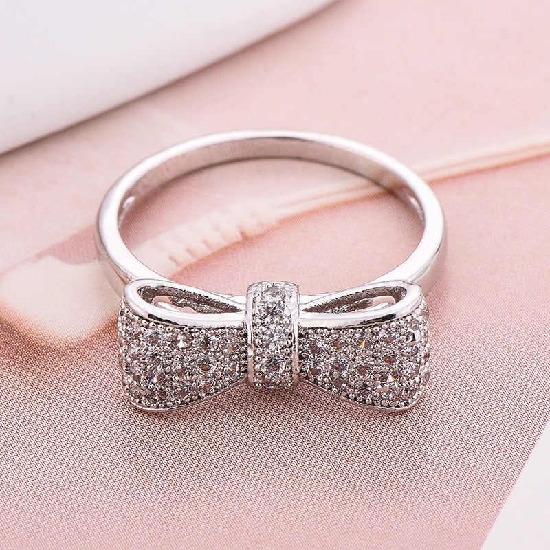 925 Anillos Silver Sparkling Bow Knot Stackable Ring Micro Pave CZ For Women Valentine's Day Gift Jewelry Wholesale Lots Bulk